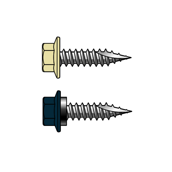 T17 10-12x25 Painted Hex Head Screws